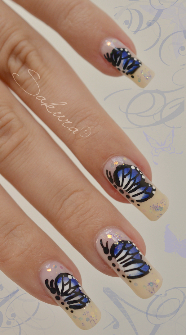 Nail art one stroke butterfly 7
