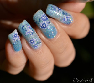 NAIL ART DEGRADE HOLO BLEU WD 7
