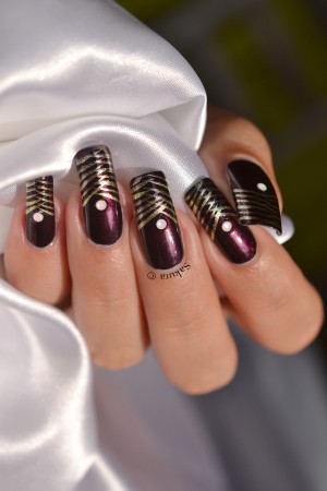 NAIL ART FRENCH DOREE TRESSEE 2